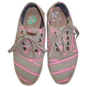 NEW Tom's Cordones Espadrille Striped Pink 7.5